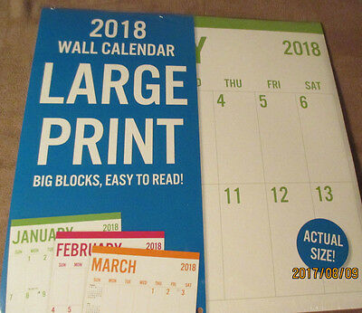 2018 WALL LARGE PRINT BIG Blocks EASY to READ Calendar 12X12 Room to Write USA