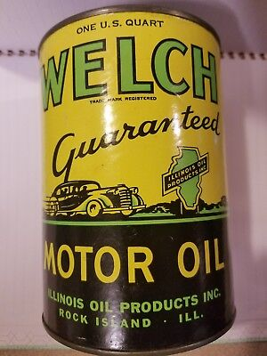 Rare Welch one quart oil can.  Great graphics!