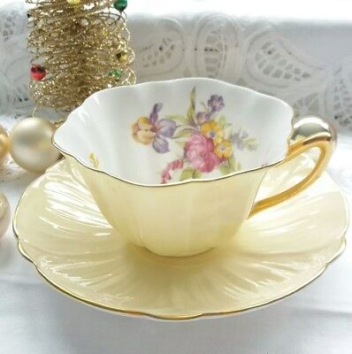 Shelley Cup and Saucer Pretty Fluted Pale Yellow Flowers Floral Oleander Shape