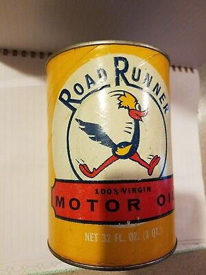 Rare Road Runner one quart oil can. Excellent graphics!