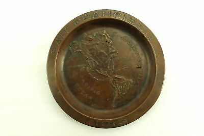 1915 San Francisco antique Copper Tip Tray Embossed Map (Maybe World Fair Expo )