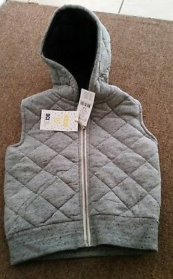Cotton On Kids Grey Quilted Vest BNWT Size 1-2