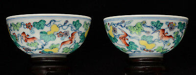 A pair of good quality Chinese porcelain Doucai cups