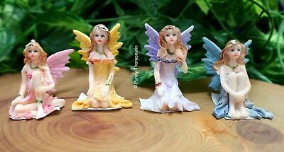 SET OF 4 ENCHANTED FAIRY ORNAMENT FIGURINE Statue Magic Fantasy Garden House S3