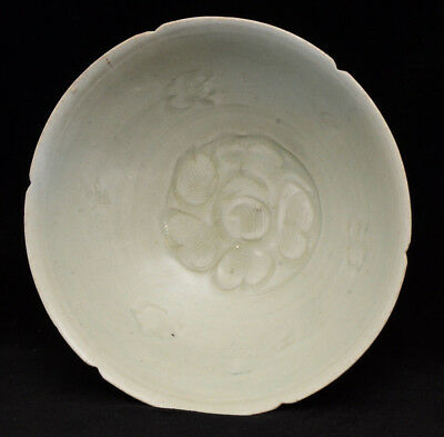 A Chinese celadon porcelain / pottery bowl, possibly Song/Yuan