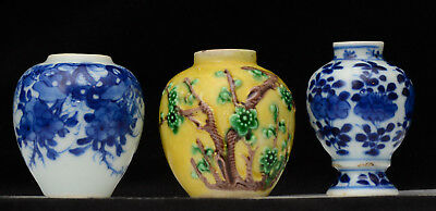 A group of three Chinese antique miniature porcelain vases (2x Kangxi, 1x 19th)