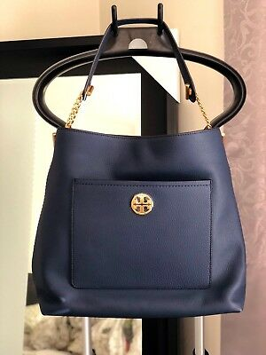 77996a3ba14f NWT Tory Burch Chelsea Chain Hobo Shoulder Bag Purse ROYAL NAVY Retail  498