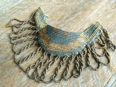 Antique Steel Cut Beaded Fringe #4 Micro Bead French Victorian Remnant Textile