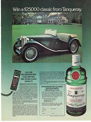 Full Page 1985 Magazine Advertisement Tanqueray Gin Car Contest Ready to Frame