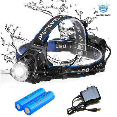 Tactical Headlight  Zoomable 20000LM Rechargeable T6 LED Headlamp+Batt+Charger