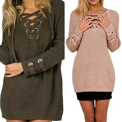 05e7f80c60 Womens Lace Up Front V Neck Long Sleeve Knit Sweater Top Casual jumper