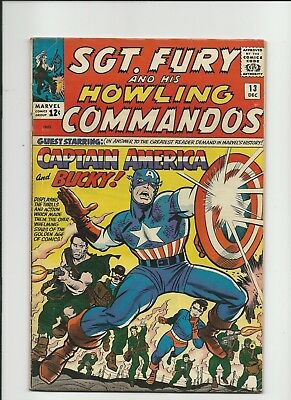 SGT FURY #13, 1ST SERIES, FINE + COMIC, 2nd CAPTAIN AMERICA APP.  DEC. 1964