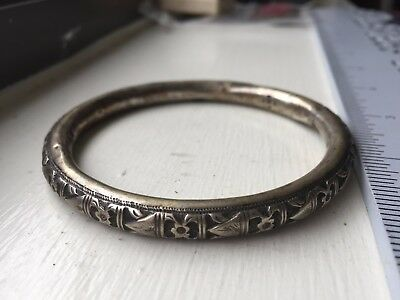 Antique Vintage Chinese Sterling SILVER  Floral Pierced  Bangle Bracelet Set Lot