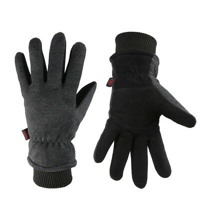 OZERO Winter Warm Gloves -30℉ Thermal Windproof Skiing Deerskin Leather Gloves