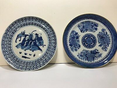 A Pair of Chinese Antique Qing Dynasty Export Porcelain Blue and white plate