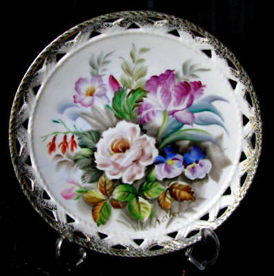 """Antique Hand Painted Artist Signed Reticulated Border Flower Center 8 1/4"""" Plate"""