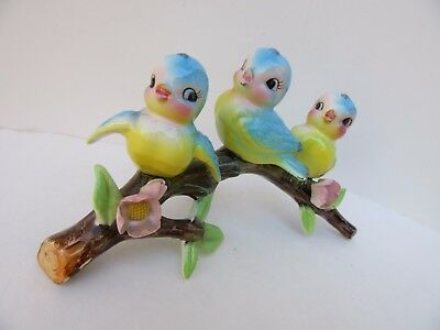 Vintage Norcrest Japan Lefton BLUE  BIRD BLUEBIRD Three Trio on Branch Figurine