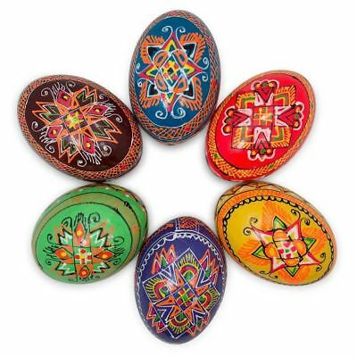 Set of 6 Multicolor Ukrainian Pysanky Wooden Easter Eggs 2.25 Inches