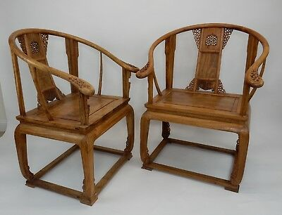 Gorgeous Pair of Antique Qing Chinese Huanghali Horseback Arm Chairs  39.5""