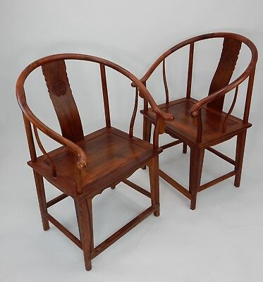 Gorgeous Pair of Chinese Huanghali Horseback Arm Chairs  39.5 inches
