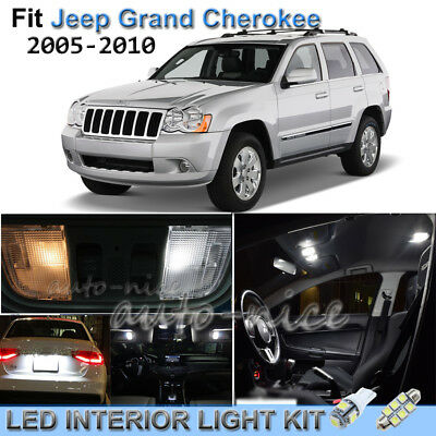 For 2005-2010 Jeep Grand Cherokee Luxury White Interior LED Lights Kit 11 Pieces