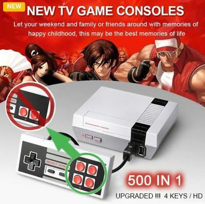 Updated Mini Vintage Retro TV Game Console Classic 500 Built-in Games 2 Control