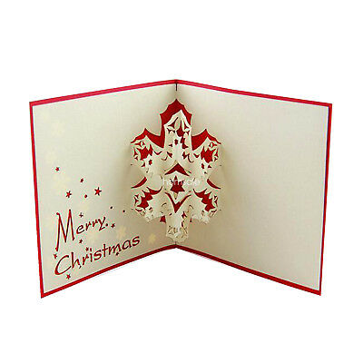 Snowflakes 3D Christmas Card +Envelope Handmade Merry Xmas Greeting Card Gift