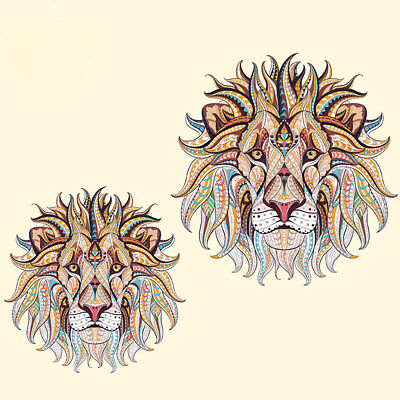 3pcs Iron-on Transfer Clothes Patches Cool 3D Lion Pattern Stickers for T-shirt