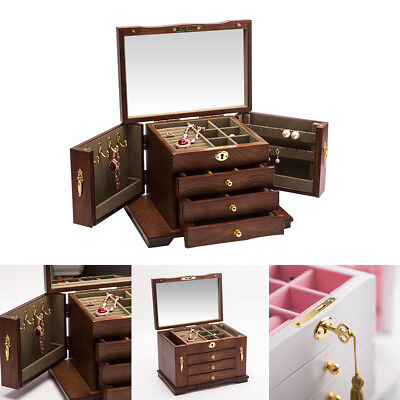 WOOD Jewelry Cabinet Armoire Storage Box Chest Stand Organizer
