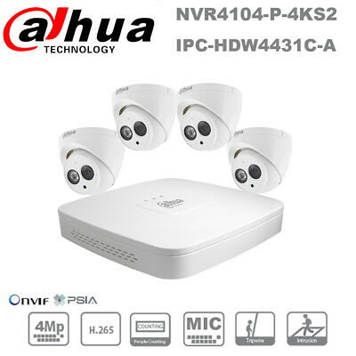 Dahua 4 Channel 4PoE HD 4MP Built-in MIC Home Security Camera P&P CCTV System