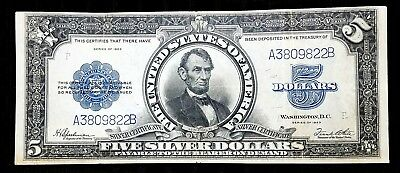 Fr 282 1923 $5 Silver Certificate Lincoln Porthole VF-XF