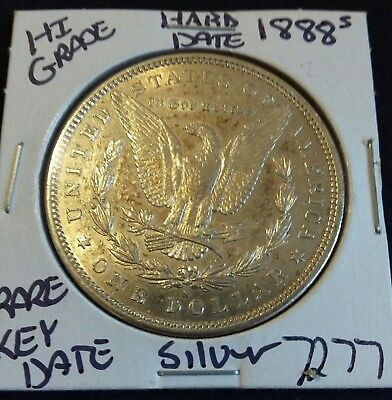 1888 s $1 Morgan silver dollar Higher Grade Very Scarce Low Mintage