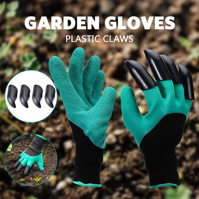 2pair Leather gardening Garden Gloves with 4 Plastic Claws for Digging Planting