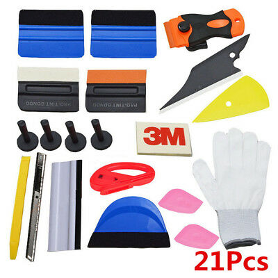 21Pcs Car Window Tint Tools Kits Scratch-free Decals Wrap Squeegee Glove Magnets