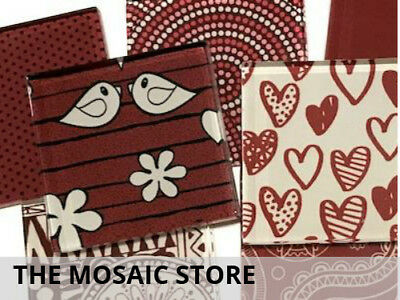Mixed Red 5cm Patterned Glass Tiles - Mosaic Tile Supplies Art Craft