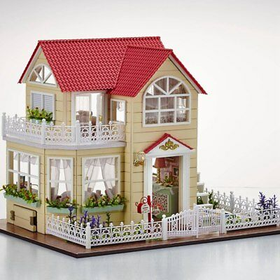 Cute DIY Wooden Handmade Kit Miniatrue Doll House Princess Room Birthday Gift AU