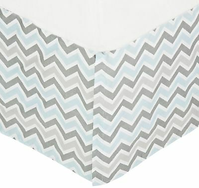 American Baby Company 100% Cotton Tailored Crib Skirt with Pleat, Blue 52x28