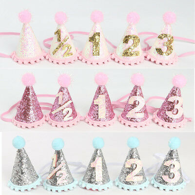 Baby Girls Birthday Party Hat Headband Cake Smash Prop Photo Outfit