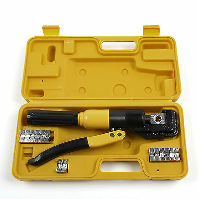 10 Ton 9 Dies Hydraulic Crimper Crimping Tool Wire Battery Cable Lug Terminal