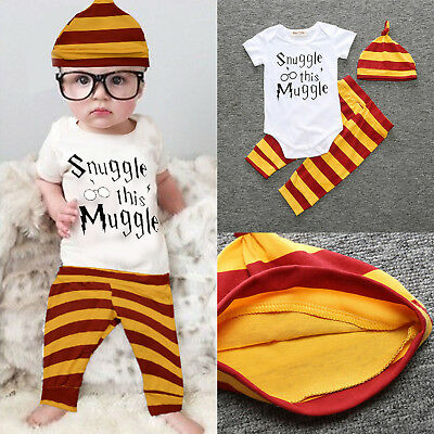 3PCS Set Newborn Toddler Baby Boys  Clothes Romper Pants Hat Outfits New UK