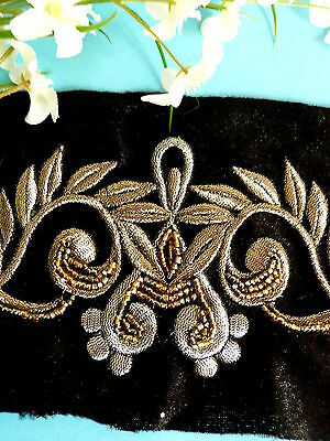 029# Lovely Application Embroidery Gold Silver Highlighted Pearls Shabby Chic