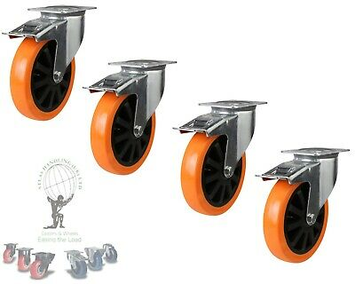 Heavy Duty castors 150mm diameter Braked x4 casters 1000Kg per set