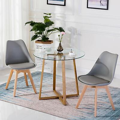 2 x Tulip Dining Chair Eiffel Style Solid Wood Legs PP Plastic Padded Seat Grey