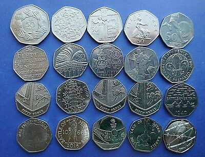 1969 to 2017 Selected Circulated 50 pence coins all Royal Mint issue