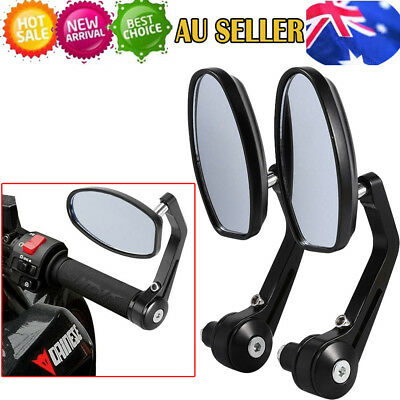 "Universal Motorcycle bike 7/8"" Bar End Rear Side View Mirrors Cafe Racer AU"