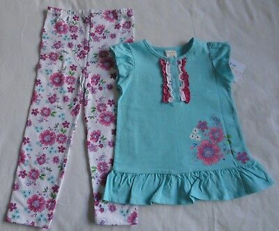 Girls Pink and Blue Top Dress and Leggings Size 2 - 3 Years