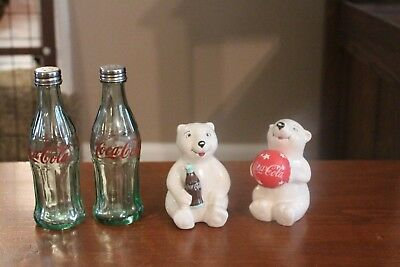 2 sets of Coca Cola Salt and Pepper Shakers