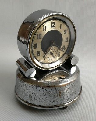 Vintage Art Deco 1930's French Musical Alarm Travel Bedside Chrome Mantle Clock
