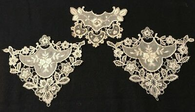 Three Old Romantic Victorian Pattern Off-white Schiffly Chemical Lace Inserts