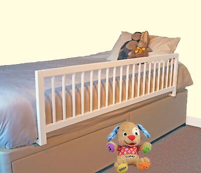 Extra Wide Wooden Bed Rail White Quick And Simple Installation Universal Fit